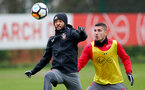 Nathan Redmond(L) and Jeremy Pied of Southampton FC during a training session at the Staplewood Campus, Southampton, 23rd January 2018