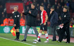 SOUTHAMPTON, ENGLAND - JANUARY 27: Guido Carrillo of Southampton FC gets instructions from his manager Mauricio Pellegrino during the FA Cup 4th round match between Southampton FC and Watford, at St Mary's Stadium on January 27, 2018 in Southampton, England. (Photo by Matt Watson/Southampton FC via Getty Images)