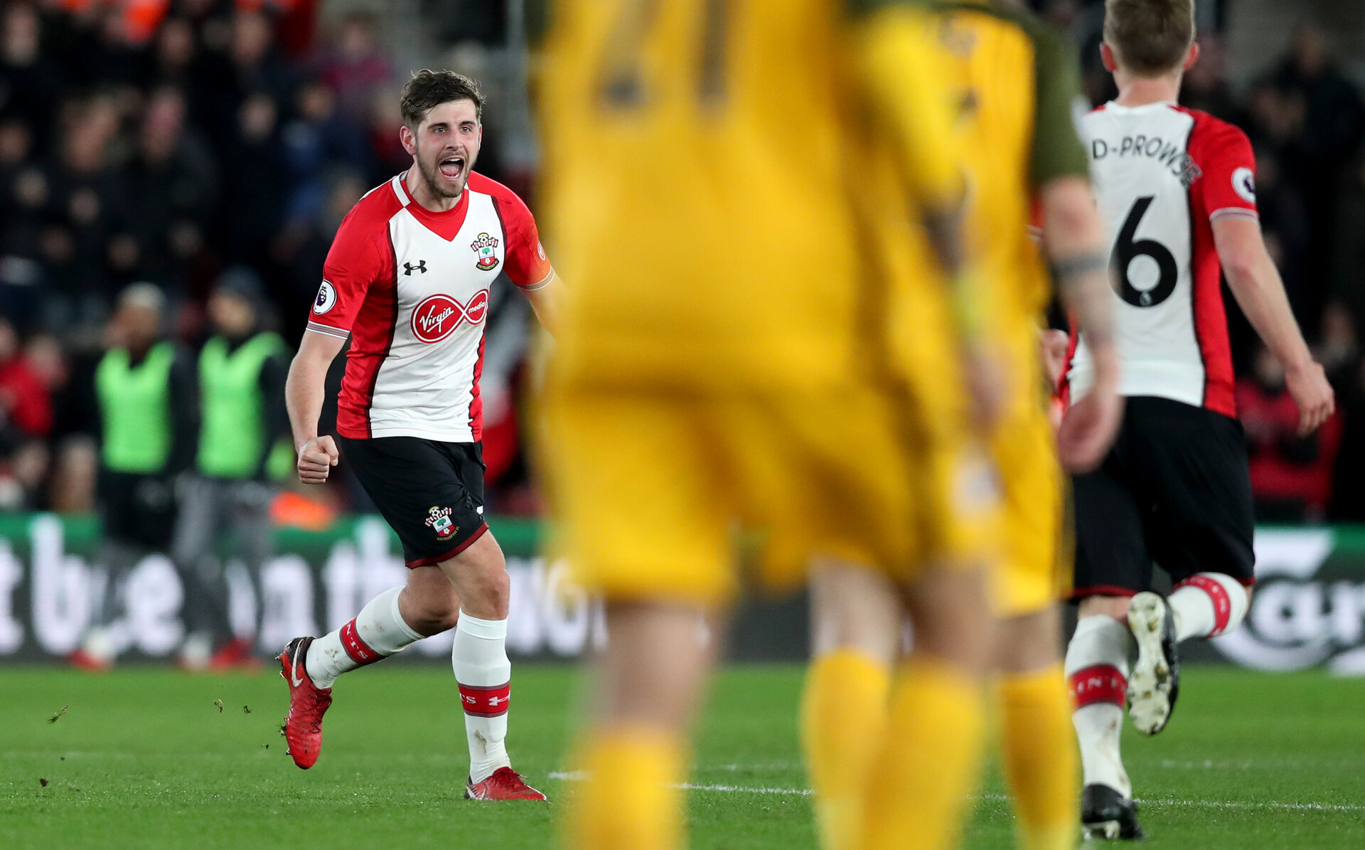 SOUTHAMPTON, ENGLAND - JANUARY 31: Jack Stephens of Southampton FC celebrates after equalising during the Premier League match between Southampton and Brighton and Hove Albion at St Mary's Stadium on January 31, 2018 in Southampton, England. (Photo by Matt Watson/Southampton FC via Getty Images)