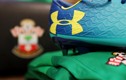 SOUTHAMPTON, ENGLAND - FEBRUARY 11: Under Armour boots inside the dressing room of Southampton ahead of the Premier League match between Southampton and Liverpool at St Mary's Stadium on February 11, 2018 in Southampton, England. (Photo by Matt Watson/Southampton FC via Getty Images)