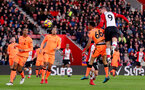 SOUTHAMPTON, ENGLAND - FEBRUARY 11: Guido Carrillo of Southampton heads at goal during the Premier League match between Southampton and Liverpool at St Mary's Stadium on February 11, 2018 in Southampton, England. (Photo by Matt Watson/Southampton FC via Getty Images)