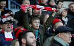 WEST BROMWICH, ENGLAND - FEBRUARY 17: Saints fans during the Emirates FA Cup fifth round match between West Bromwich Albion and Southampton at The Hawthorns on February 17, 2018 in West Bromwich, England. (Photo by Matt Watson/Southampton FC via Getty Images)