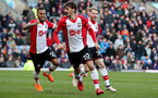 BURNLEY, ENGLAND - FEBRUARY 24: Manolo Gabbiadini(centre) of Southampton celebrates after equalising during the Premier League match between Burnley and Southampton at Turf Moor on February 24, 2018 in Burnley, England. (Photo by Matt Watson/Southampton FC via Getty Images)