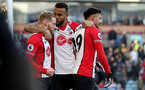 BURNLEY, ENGLAND - FEBRUARY 24: Josh Sims(L), Ryan Bertrand(centre) and Sofiane Boufal of Southampton during the Premier League match between Burnley and Southampton at Turf Moor on February 24, 2018 in Burnley, England. (Photo by Matt Watson/Southampton FC via Getty Images)