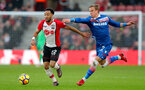 SOUTHAMPTON, ENGLAND - MARCH 03: Nathan Redmond(L) of Southampton and Moritz Bauer(R) of Stoke during the Premier League match between Southampton and Stoke City at St Mary's Stadium on March 3, 2018 in Southampton, England. (Photo by Matt Watson/Southampton FC via Getty Images)