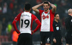 SOUTHAMPTON, ENGLAND - MARCH 03: LtoR Sofiane Boufal, Wesley Hoedt of Southampton FC during the Premier League match between Southampton and Stoke City at St Mary's Stadium on March 3, 2018 in Southampton, England. (Photo by James Bridle - Southampton FC/Southampton FC via Getty Images)