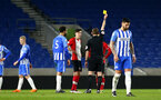 SOUTHAMPTON, ENGLAND - MARCH 05: Jake Hesketh recieves a Yellow card during the PL2 U23's match between Brighton & Hove Albion FC and Southampton FC at American Express Community Stadium on March 5, 2018 in Southampton, England. (Photo by James Bridle - Southampton FC/Southampton FC via Getty Images)