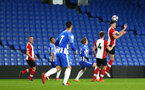 SOUTHAMPTON, ENGLAND - MARCH 05: Alfie Jones (right) during the PL2 U23's match between Brighton & Hove Albion FC and Southampton FC at American Express Community Stadium on March 5, 2018 in Southampton, England. (Photo by James Bridle - Southampton FC/Southampton FC via Getty Images)