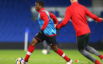 SOUTHAMPTON, ENGLAND - MARCH 05: Michael Obafemi (left) ahead of the PL2 U23's match between Brighton & Hove Albion FC and Southampton FC at American Express Community Stadium on March 5, 2018 in Southampton, England. (Photo by James Bridle - Southampton FC/Southampton FC via Getty Images)