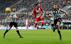 NEWCASTLE UPON TYNE, ENGLAND - MARCH 10: Cedric(L) of Southampton FC and Florian Lejune(R) of Newcastle during the Premier League match between Newcastle United and Southampton at St. James Park on March 10, 2018 in Newcastle upon Tyne, England. (Photo by Matt Watson/Southampton FC via Getty Images)
