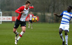 SOUTHAMPTON, ENGLAND - MARCH 17: Dan Bartlett (left) during the U18's match between Southampton FC and Reading FC at Staplewood Complex on March 16, 2018 in Southampton, England. (Photo by James Bridle - Southampton FC/Southampton FC via Getty Images)