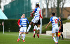 SOUTHAMPTON, ENGLAND - MARCH 17: Kornelius Hansen heads the ball during the U18's match between Southampton FC and Reading FC at Staplewood Complex on March 16, 2018 in Southampton, England. (Photo by James Bridle - Southampton FC/Southampton FC via Getty Images)