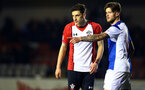 BLACKBURN, ENGLAND - MARCH 20: Alfie Jones (left) during the U23's PL2 match between Blackburn Rovers FC and Southampton FC at Lancashire County FA on March 20, 2018 in Leyland, England. (Photo by James Bridle - Southampton FC/Southampton FC via Getty Images)