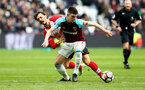 LONDON, ENGLAND - MARCH 31: Manolo Gabbiadini (left) during the Premier League match between West Ham United and Southampton at London Stadium on March 31, 2018 in London, England. (Photo by James Bridle - Southampton FC/Southampton FC via Getty Images)