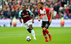 LONDON, ENGLAND - MARCH 31: Ryan Bertrand(R) of Southampton during the Premier League match between West Ham United and Southampton at the London Stadium on March 31, 2018 in London, England. (Photo by Matt Watson/Southampton FC via Getty Images)