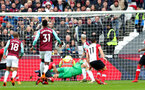 LONDON, ENGLAND - MARCH 31: Joao Mario scores for West Ham during the Premier League match between West Ham United and Southampton at the London Stadium on March 31, 2018 in London, England. (Photo by Matt Watson/Southampton FC via Getty Images)