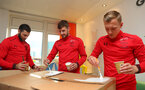Southampton FC players and staff visit Southampton General Hospital, 3rd April 2018, L to R, Charlie Austin, Jack Stephens and James Ward-Prowse