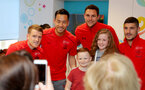 Southampton FC players and staff visit Southampton General Hospital, 3rd April 2018, L to R, Steven Davis, Maya Yoshida, Alex McCarthy and Jeremy Pied