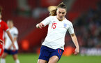 SOUTHAMPTON, ENGLAND - APRIL 06: Melissa Lawley (middle) during the England Lionesses vs Wales Womens match at St Mary's Stadium on April 6, 2018 in Southampton, England. (Photo by James Bridle - Southampton FC/Southampton FC via Getty Images)