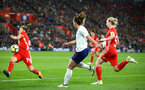 SOUTHAMPTON, ENGLAND - APRIL 06: LtoR Hayley Ladd, Melissa Lawley, Rhiannon Roberts during the Women's World Cup Qualifier match between England and Wales match at St Mary's Stadium on April 6, 2018 in Southampton, England. (Photo by James Bridle - Southampton FC/Southampton FC via Getty Images)
