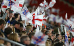 SOUTHAMPTON, ENGLAND - APRIL 06: Fans wave their England flags during the England Lionesses vs Wales Womens match at St Mary's Stadium on April 6, 2018 in Southampton, England. (Photo by James Bridle - Southampton FC/Southampton FC via Getty Images)