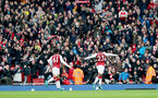 LONDON, ENGLAND - APRIL 08: Arsenal's Danny Wellbeck celebrates during the Premier League match between Arsenal and Southampton at Emirates Stadium on April 8, 2018 in London, England. (Photo by Matt Watson/Southampton FC via Getty Images)