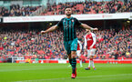LONDON, ENGLAND - APRIL 08: Shane Long of Southampton celebrates after opening the scoring during the Premier League match between Arsenal and Southampton at Emirates Stadium on April 8, 2018 in London, England. (Photo by Matt Watson/Southampton FC via Getty Images)