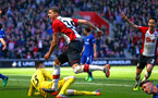 SOUTHAMPTON, ENGLAND - APRIL 14: Jan Bednarek  (middle) scores for Southampton FC during the Premier League match between Southampton and Chelsea at St Mary's Stadium on April 14, 2018 in Southampton, England. (Photo by Chris Moorhouse/Southampton FC via Getty Images)