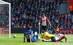 SOUTHAMPTON, ENGLAND - APRIL 14: Dusan Tadic of Southampton FC scores during the Premier League match between Southampton and Chelsea at St Mary's Stadium on April 14, 2018 in Southampton, England. (Photo by Chris Moorhouse/Southampton FC via Getty Images)