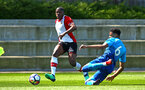 SOUTHAMPTON, ENGLAND - APRIL 18: Michael Obafemi (left) during the U18 Premier League match between Southampton FC and Arsenal FC at Staplewood Complex on April 17, 2018 in Southampton, England. (Photo by James Bridle - Southampton FC/Southampton FC via Getty Images)