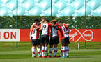 SOUTHAMPTON, ENGLAND - APRIL 18: Team huddle ahead of the U18 Premier League match between Southampton FC and Arsenal FC at Staplewood Complex on April 17, 2018 in Southampton, England. (Photo by James Bridle - Southampton FC/Southampton FC via Getty Images)