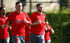 SOUTHAMPTON, ENGLAND - APRIL 18: Wesley Hoedt (right) during a Southampton FC Training session at Staplewood Complex on April 17, 2018 in Southampton, England. (Photo by James Bridle - Southampton FC/Southampton FC via Getty Images)
