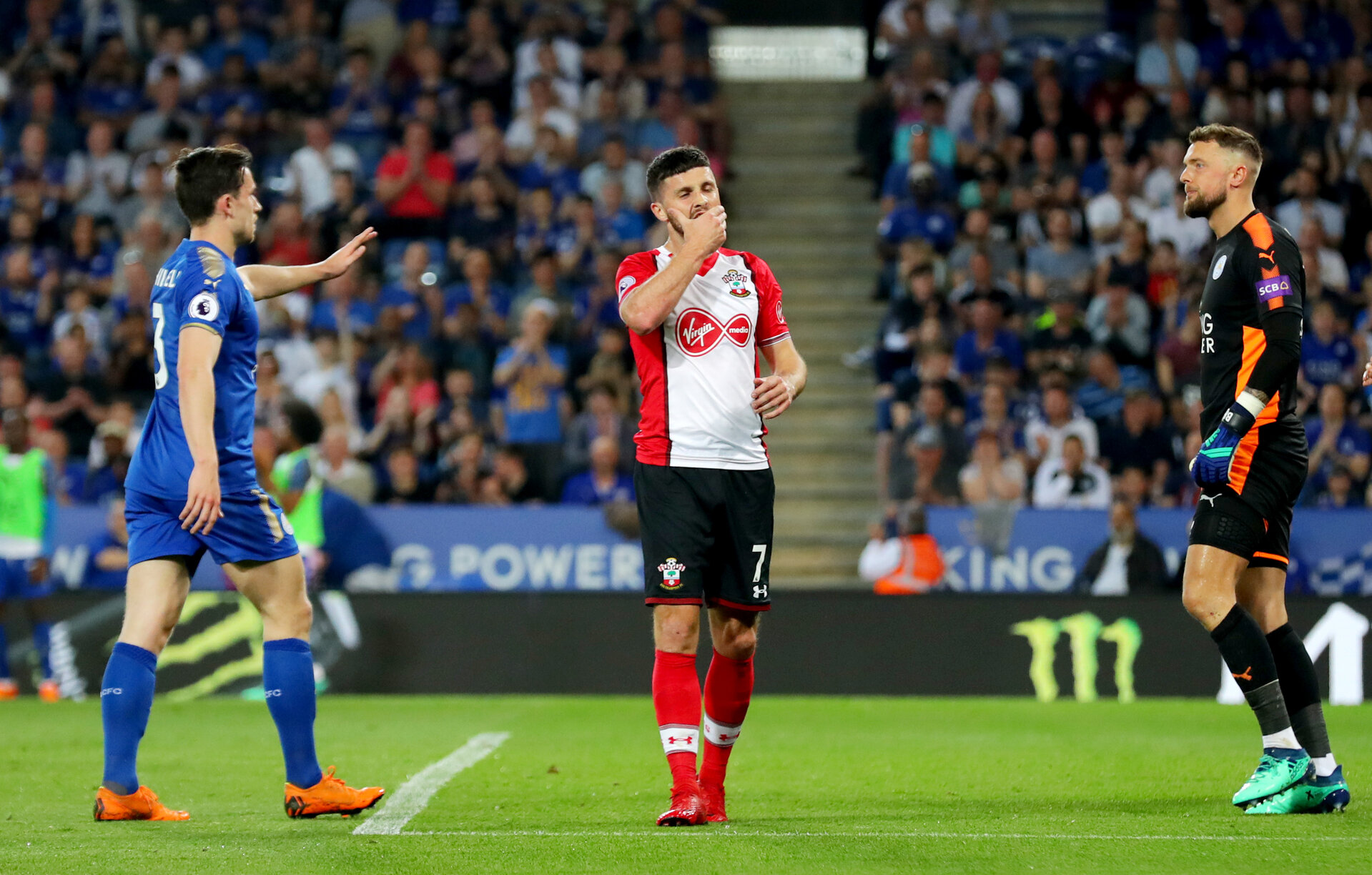 LEICESTER, ENGLAND - APRIL 19: Shane Long of Southampton during the Premier League match between Leicester City and Southampton at The King Power Stadium on April 19, 2018 in Leicester, England. (Photo by Matt Watson/Southampton FC via Getty Images)
