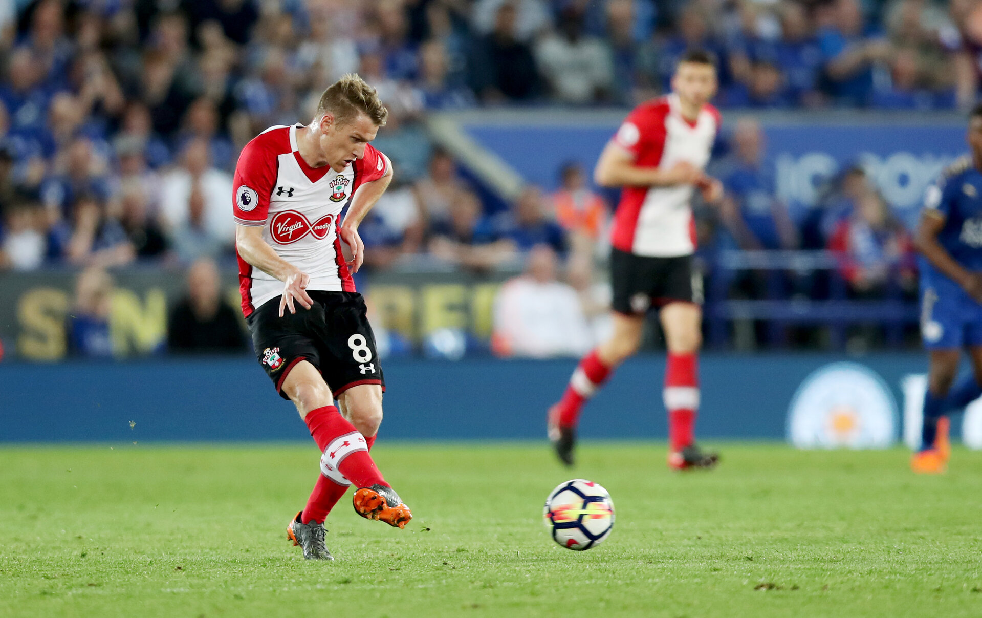 LEICESTER, ENGLAND - APRIL 19: Steven Davis of Southampton during the Premier League match between Leicester City and Southampton at The King Power Stadium on April 19, 2018 in Leicester, England. (Photo by Matt Watson/Southampton FC via Getty Images)