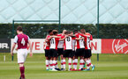 Southampton players huddle during the U18 premier league match between Southampton and Aston Villa, at the Staplewood Campus, Southampton, 21st April 2018