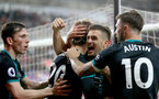 SWANSEA, WALES - MAY 08: Dusan Tadic of Southampton celebrates with his team mates after Manolo Gabbiadini scores during the Premier League match between Swansea City and Southampton at Liberty Stadium on May 8, 2018 in Swansea, Wales. (Photo by Matt Watson/Southampton FC via Getty Images)