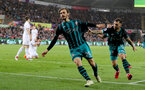 SWANSEA, WALES - MAY 08: Manolo Gabbiadini(L) of Southampton celebrates during the Premier League match between Swansea City and Southampton at Liberty Stadium on May 8, 2018 in Swansea, Wales. (Photo by Matt Watson/Southampton FC via Getty Images)