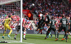 SOUTHAMPTON, ENGLAND - MAY 13: Wesley Hoedt of Southampton heads against the bar during the Premier League match between Southampton and Manchester City at St Mary's Stadium on May 13, 2018 in Southampton, England. (Photo by Matt Watson/Southampton FC via Getty Images)