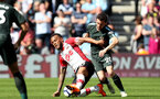 SOUTHAMPTON, ENGLAND - MAY 13: Ryan Bertrand(L) of Southampton and Bernado Silva(R) of Manchester City the Premier League match between Southampton and Manchester City at St Mary's Stadium on May 13, 2018 in Southampton, England. (Photo by Matt Watson/Southampton FC via Getty Images)