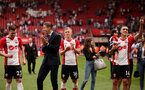 SOUTHAMPTON, ENGLAND - MAY 13: from left, Pierre-Emile Hojbjerg, Jan Bednarek, James Ward-Prowse and Oriol Romeu. Lap of appreciation after the Premier League match between Southampton and Manchester City at St Mary's Stadium on May 13, 2018 in Southampton, England. (Photo by Chris Moorhouse/Southampton FC via Getty Images)