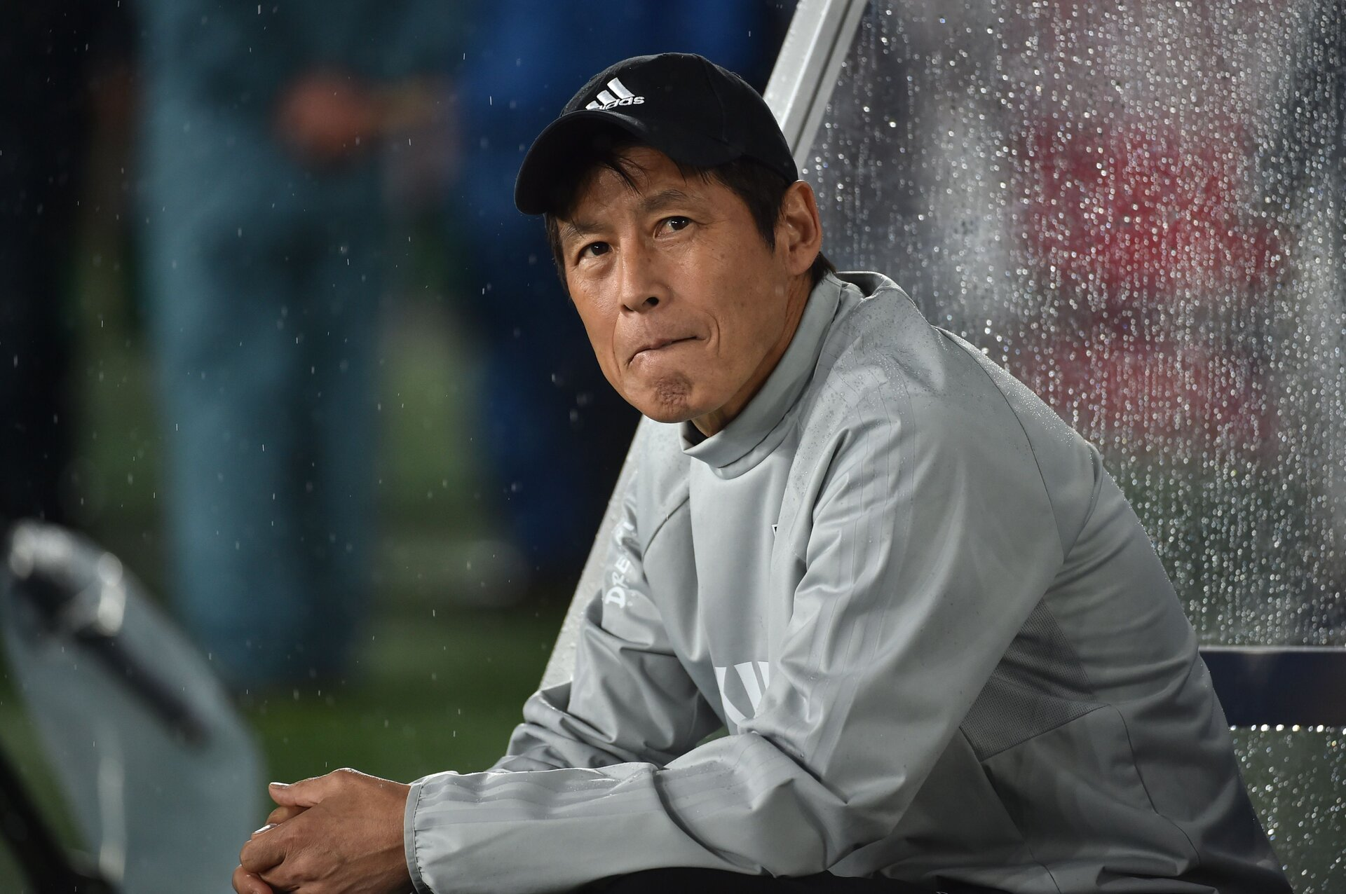 This picture taken on May 30, 2018 shows Japan's national football team head coach Akira Nishino attending the international friendly football match between Japan and Ghana at Nissan Stadium in Yokohama. (Photo by Kazuhiro NOGI / AFP)        (Photo credit should read KAZUHIRO NOGI/AFP/Getty Images)