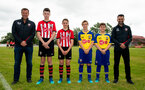 SOUTHAMPTON, ENGLAND - JUNE 16: Matt Le Tissier (left) Francis Benali (right) help Southampton FC launch their new kit in a surprise unveiling match between Littleton FC vs Romsey Town on June 16, 2018 in Southampton, England. (Photo by James Bridle - Southampton FC/Southampton FC via Getty Images)