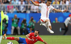 SAMARA, RUSSIA - JUNE 17:  Dusan Tadic of Serbia jumps over a sliding challenge from Marcos Urena of Costa Rica during the 2018 FIFA World Cup Russia group E match between Costa Rica and Serbia at Samara Arena on June 17, 2018 in Samara, Russia.  (Photo by Maddie Meyer/Getty Images)