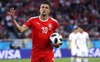 KALININGRAD, RUSSIA - JUNE 22:  Dusan Tadic of Serbia reacts during the 2018 FIFA World Cup Russia group E match between Serbia and Switzerland at Kaliningrad Stadium on June 22, 2018 in Kaliningrad, Russia.  (Photo by Ryan Pierse/Getty Images)