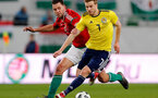 BUDAPEST, HUNGARY - MARCH 27:  Adam Szalai of Hungary (l) and Stuart Armstrong of Scotland (r) in action during the International Friendly match between Hungary and Scotland at Groupama Arena on March 27, 2018 in Budapest, Hungary.  (Photo by Laszlo Szirtesi/Getty Images)