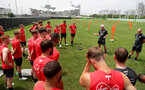 Mark Hughes speaks to his players during the first training session of Southampton FC's pre-season tour of China, at the Kunshan training facility, Kunshan, Shanghai, China, 2nd July 2018