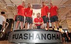 SHANGHAI, CHINA - JULY 06: Southampton FC players L to R, Pierre-Emile Hojbjerg, Sam McQueen, Josh Sims, Fraser Forster and Oriol Romeu visit the Under Armour store while on their pre season tour of China, on July 6, 2018 in Shanghai, China. (Photo by Matt Watson/Southampton FC via Getty Images)