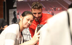 SHANGHAI, CHINA - JULY 06: Southampton FC players visit the Under Armour store while on their pre season tour of China, Sam McQueen pictured with a fan, on July 6, 2018 in Shanghai, China. (Photo by Matt Watson/Southampton FC via Getty Images)