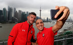 SHANGHAI, CHINA - JULY 06: Fraser Forster(L) and Oriol Romeu pictured on a rooftop terrace as Southampton FC players visit Shanghai centre while on their pre season tour of China, on July 6, 2018 in Shanghai, China. (Photo by Matt Watson/Southampton FC via Getty Images)