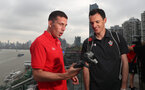 SHANGHAI, CHINA - JULY 06: Pierre-Emile Hojbjerg(L) and Gordon Simpson pictured on a rooftop terrace as Southampton FC players visit Shanghai centre while on their pre season tour of China, on July 6, 2018 in Shanghai, China. (Photo by Matt Watson/Southampton FC via Getty Images)